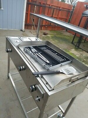 Taco Cart 48x24 Plancha With Steam Table.