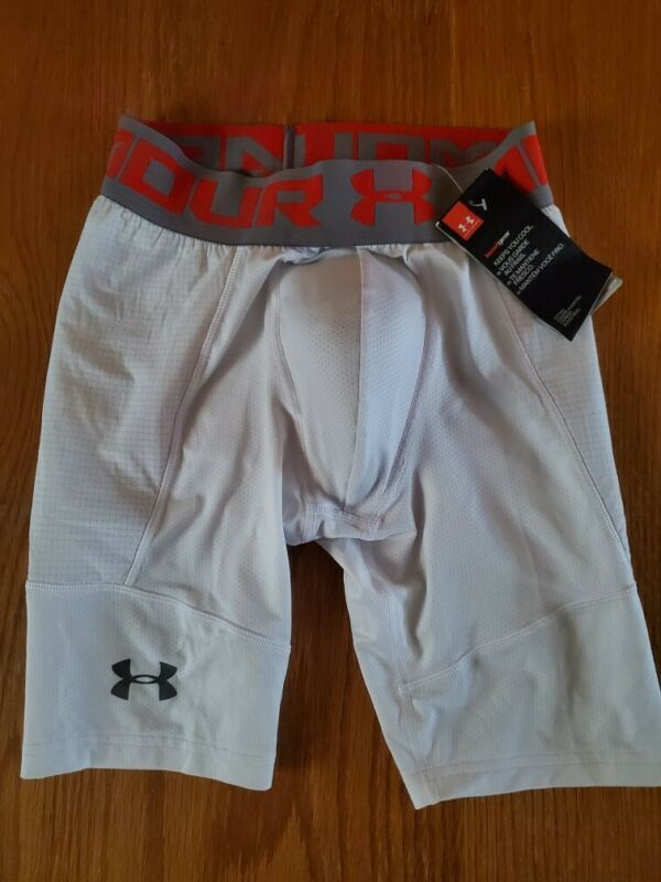 NWT Under Armour Boys White Sliding Shorts With Cup Size Youth Large