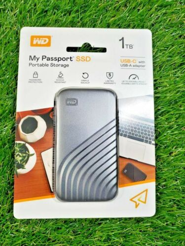 **NEW**  WD My Passport SSD Portable Storage 1TB USB-C with USB-A Adapter