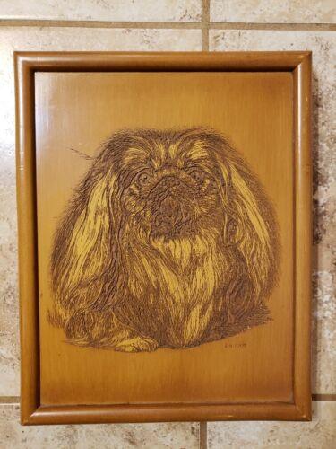 Wood Etching Engraved Pekingese Dog Wall Art Plaque Artist Ernest E. H. Hart