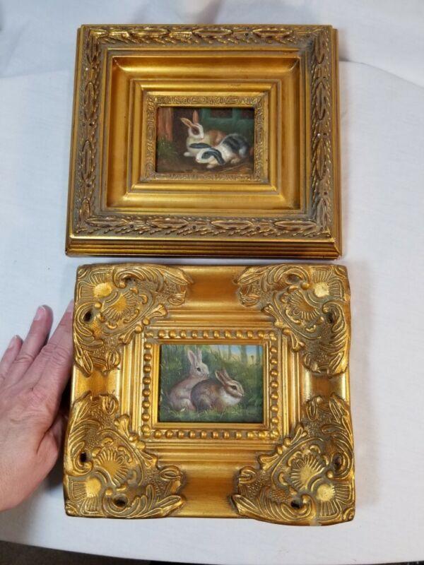 Vintage oil painting art lot 2 bunny rabbits cottage ornate Gold frame 20th C