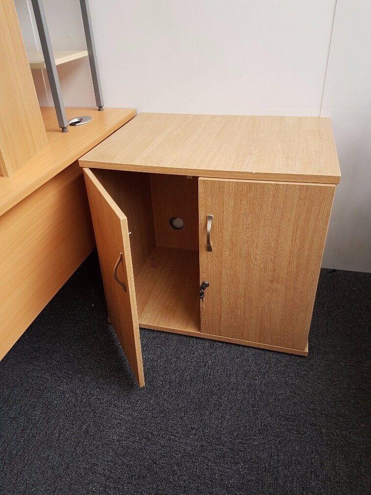 Desk High Storage Cupboard Locking Light Oak Finish Home Office Study