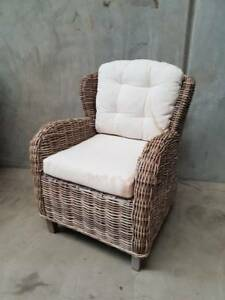 Hamptons Wing Chair in Kubu Cane with Linen Cushions Loganholme Logan Area Preview
