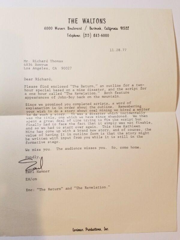 The Waltons / 1977 Original Earl Hamner Letter to Richard Thomas