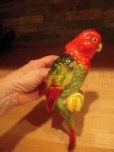 Vintage 10-inch Colorful Parrot Hanging Planter