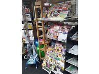 large adjustable Magazine display stand with white acrylic shelf