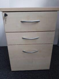 Wooden Under Desk Pedestal Drawer Units/ Locking/ Maple Finish