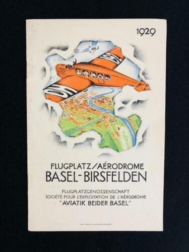 BASEL SWITZERLAND AIRPORT 1929 ART DECO BROCHURE BOOK Airplane Aviation Swissair