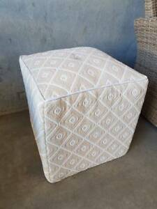 OUTDOOR OTTOMAN- BEIGE AND WHITE Loganholme Logan Area Preview
