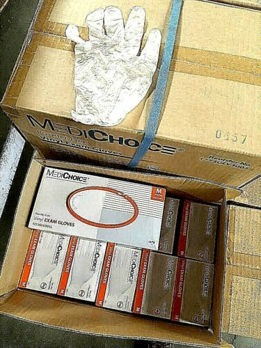 "EXAM GLOVES 1 Case/10 bx of 100  Vinyl (Medium) Medical = 1000 ""SALE !! FREE SHP"