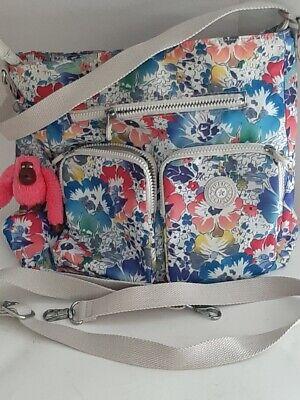 Kipling Floral Satchel Nylon Handbag