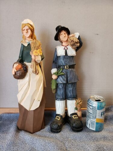 Thanksgiving Pilgrims Man Woman Centerpiece Resin Faux Carved Wood 16""