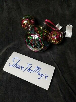 Disney Parks Mickey Mouse Tinsel Confetti Blown Glass Holiday ornament 6