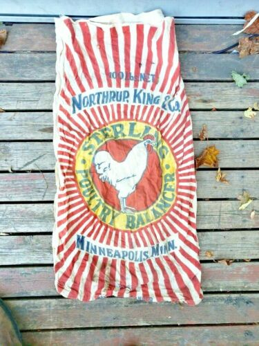 RARE VINTAGE NORTHRUP KING STERLING POULTRY FEED SACK BAG CHICKEN GRAPHICS MN
