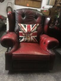 Chesterfield Wing Back Chair Oxblood Red Leather Delivery