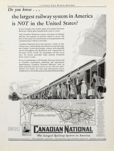 1928 Canadian National Railway Vintage Magazine Ad
