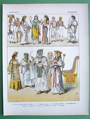 EGYPT Costume of Ancient People King Queen - COLOR Litho Print