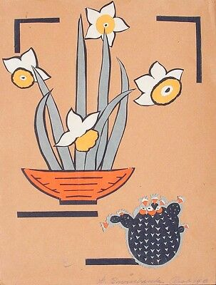 Vintage Mixed Media Still Life on Paper, Daffodills & Cactus, G. Swinbank Artist