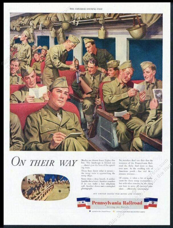 1944 Pennsylvania Railroad US soldiers on train art vintage print ad