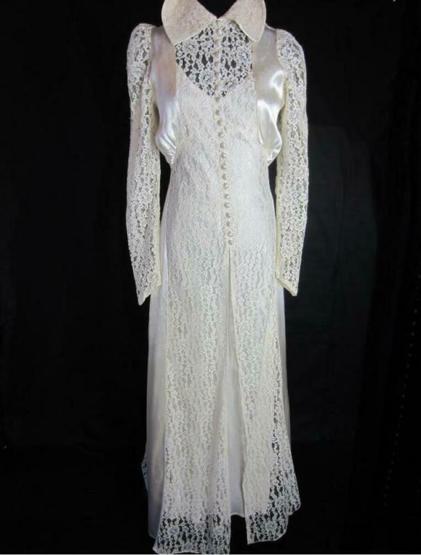 True Vintage 1930s Old Hollywood  Lace and Satin Wedding Gown Ensemble