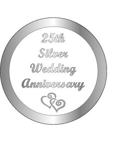 30 WEDDING ANNIVERSARY 25th SILVER PRE-CUT CUP CAKE EDIBLE RICE PAPER TOPPERS