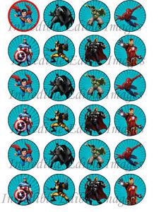 24 x 4cm  SUPERHERO (Spiderman,Batman,Superman ect)  Edible ICING Cupcake Topper
