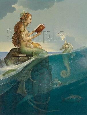 MERMAID SEAHORSE BOOK READING CAT FISH FANTASY NYMPH VINTAGE CANVAS ART PRINT