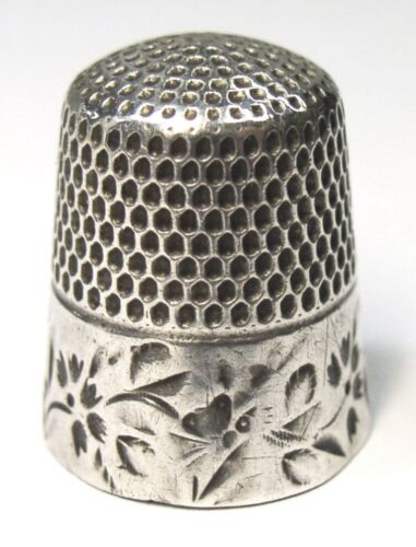 Antique Stern Brothers Co. Sterling Silver Thimble Folk Art Butterflies Flowers