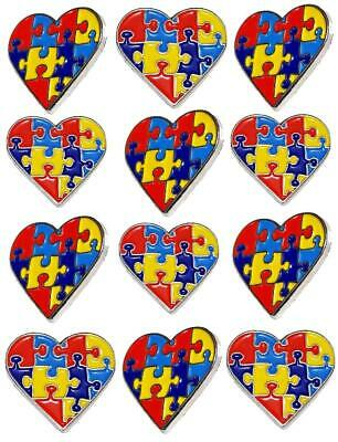 12 Pack Autism Awareness Heart Puzzle Pieces Lapel Hat Pins Raise Awareness 7302](Blue Puzzle Piece Lapel Pin)