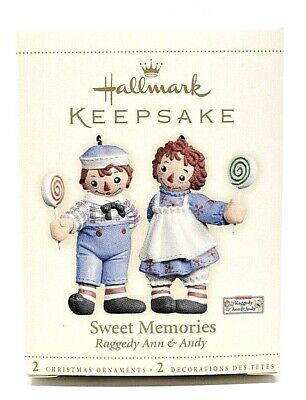 RARE NEW 2006 HALLMARK SWEET MEMORIES 2 RAGGEDY ANN AND ANDY CHRISTMAS ORNAMENTS