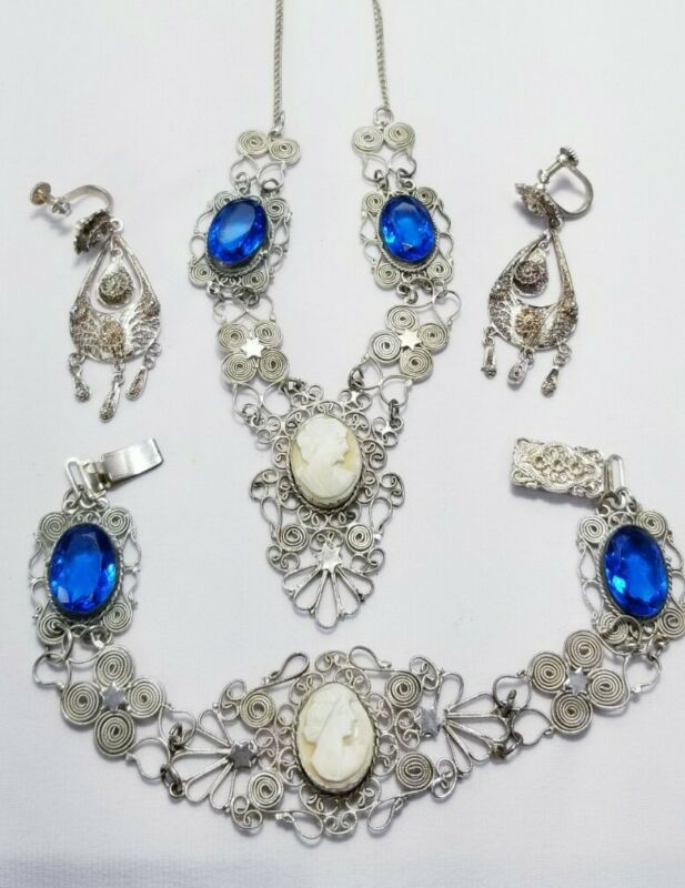 Antique Art Deco Silver Carved Cameo Wire Work Necklace Bracelet Earring Set