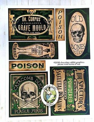 Halloween Potion Bottle Labels, Skeleton & Bones, Uncut Label Stickers Set of 7