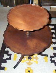 2 Tier Pie Crust Black Walnut Table (1920's Circa)