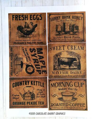 Vintage Style Country Pantry Labels, Primitive Sticker Sheet Set of 6