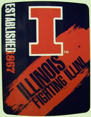 "Blanket Fleece Throw NCAA Illinois Illini NEW 50""x60"" with protective sleeve Illinois Fleece Throw Blanket"