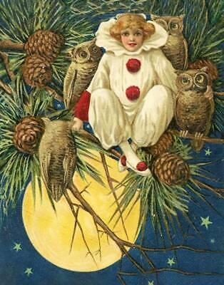 Halloween Clown Girl in Tree with Owls by Schmucker - Halloween Clown Girl