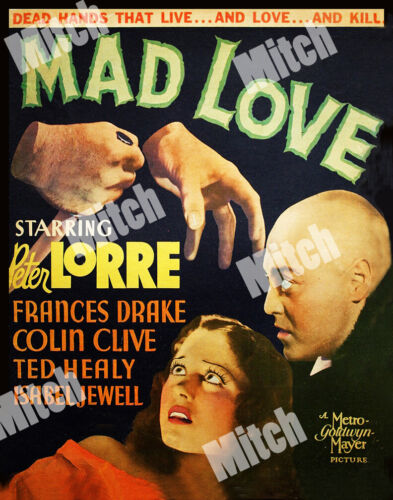 MAD LOVE 1935 THEATRE WINDOW 11 x 14 TRUE COLOR REPRODUCTION HORROR LOBBY CARD