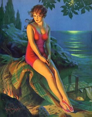 Honeymooning in the Alps by Gene Pressler Art Print of Vintage Art