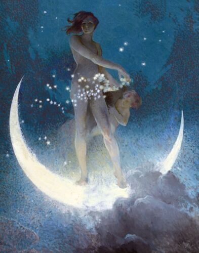"vintage art by Edwin Blashfield ""Spring Scattering"" Moon, Stars, Woman , Child"