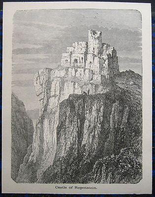 REGENSTEIN Blankenburg HARZ. Originaler Holzstich 1885