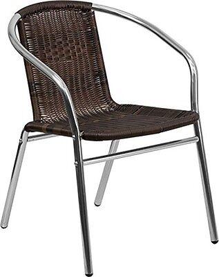 Flash Furniture Aluminum Dark Brown Rattan Indoor-outdoor Restaurant Chair New