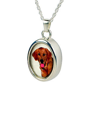 Cremation Oval Photo Urn Necklace Love & Hearts, Pendant and Sterling Silver