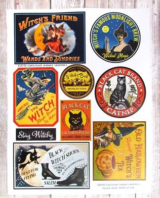 Vintage Style Halloween Labels, Witch Pantry, Set of 9 Color Uncut Sticker Sheet