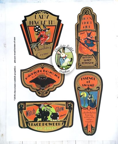 Halloween Potion Bottle Labels, Witch Beauty Labels, 5 Uncut Label Stickers