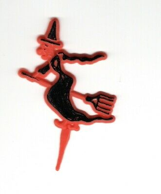 Vintage witch on broomstick cake topper 1940s hard plastic 3 1/2 inche Unmarked