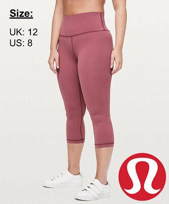"""Lululemon Women's Align Crop 21"""" NULU Leggings - Misty Merlot - UK 12 US 8"""