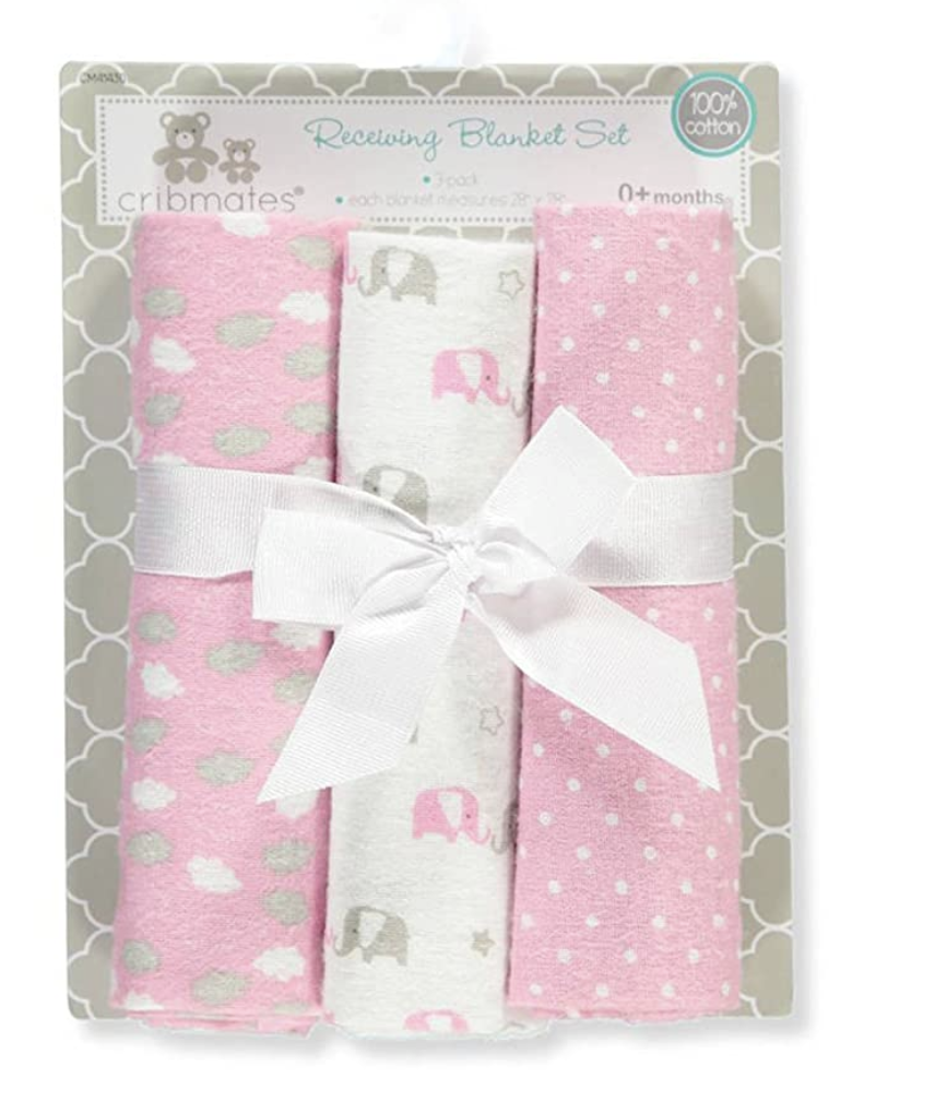Cribmates Lot of 3 Baby Girl Pink Cotton Receiving Blankets