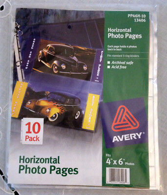 AVERY 6 Packs Of 10 (60 pages) Horizontal Photo Binder 4 X 6 13406 NWT PP46H-10