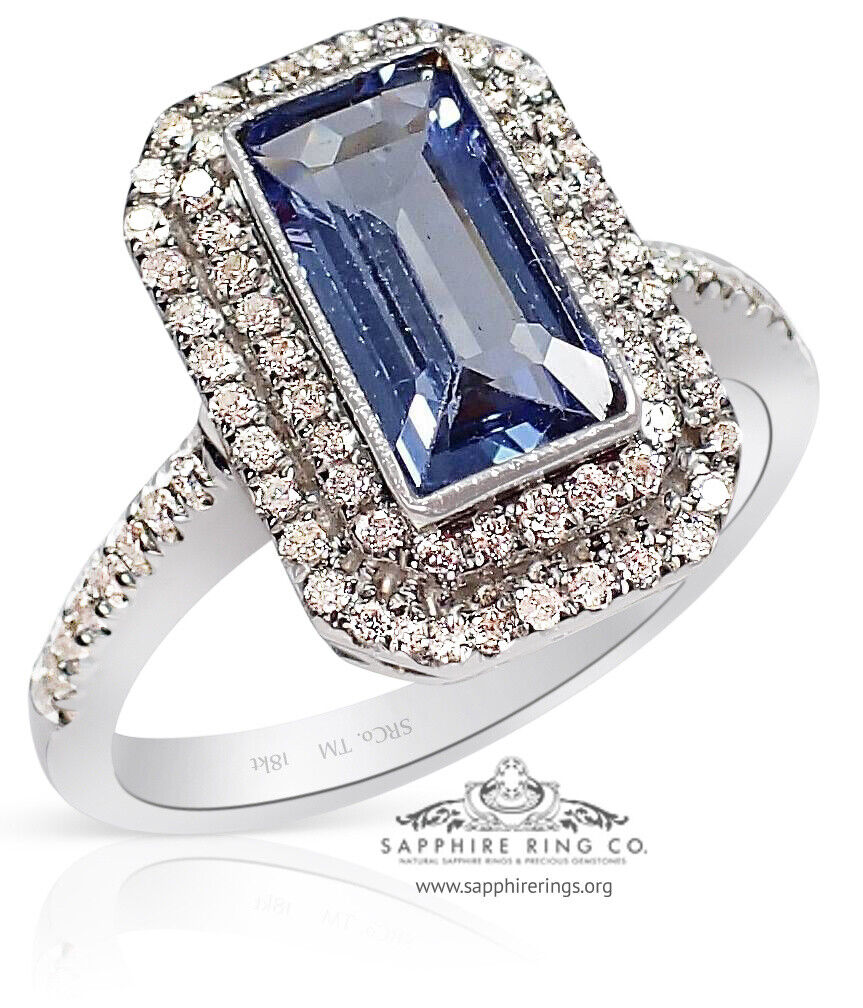 GIA Certified 18kt 1.90 tcw Blue Emerald Natural Sapphire & Engagement Ring