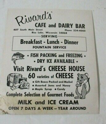 "Vintage Cardboard sign Richard's Cafe & Dairy Bar RICE LAKE WI 11"" x 9.25"""